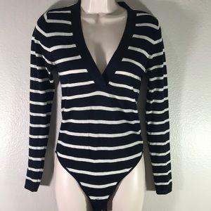 Zara Knit bodysuit navy blue